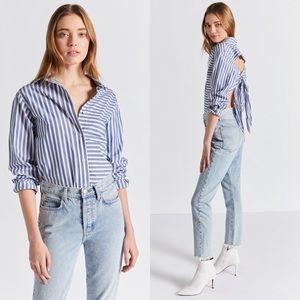 Current/Elliott Striped Des Shirt With Tie Back